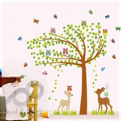 Owls Deer Doe Butterflies Tree XXL 170x170cm ps7256