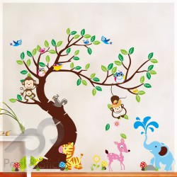 Elephant Owl Monkey Turtle Tree XXL 190x150cm ps1214