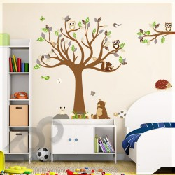 Brown Bear Owl Hedgehog Tree XXL 180x150cm ps1220