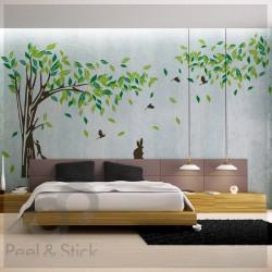 Huge Brown Tree Green Leaves XXXL 400x220cm ps8260
