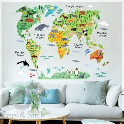 Animals Kids World Map L 100x80cm ps037