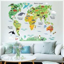 Animals Kids World Map L 100x80cm ps037