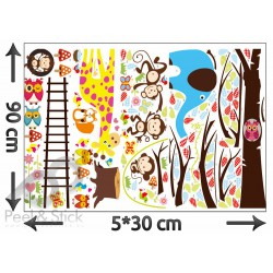 Elephant Giraffe Owl Monkey Tree XXL 240x140cm ps1213