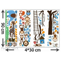 Elephant Owl Monkey Blue Tree XXL 180x120cm ps1215