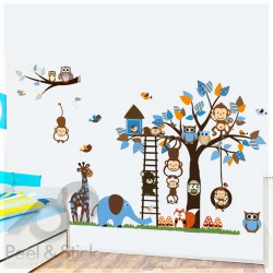 Elefant Owl Monkey Blue Tree XXL 180x120cm