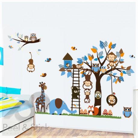 Elefant Owl Monkey Blue Tree XXL 180x120cm