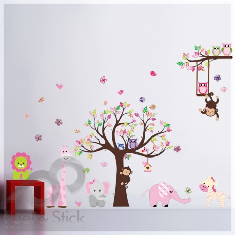 Pink Elephant Green Lion Owl Monkey Tree XXL 240x160cm ps1216