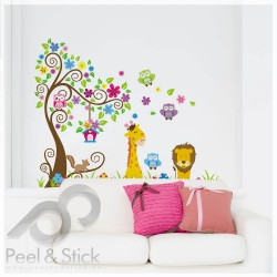 Lion Owl Giraffe Squirrel Tree XXL 170x140cm ps1218