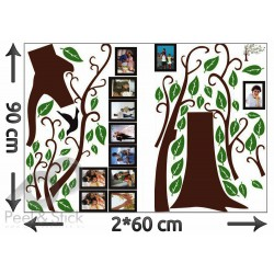 Brown Photo Family Memory Tree Green Leaves XXL 220x180cm ps96AB