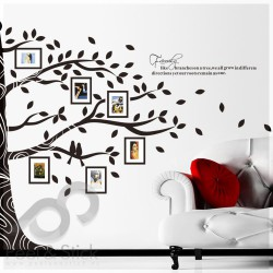 Black Photo Family Memory Half Tree XXL 260x200cm ps97AB