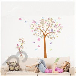 Owls Birds Butterflies Tree XXL 180x170cm ps7250